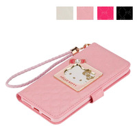 Fashion Women Girl Lanyard Hello Kitty Flip Wallet Stand Leather Case For Apple Iphone6 6s Plus