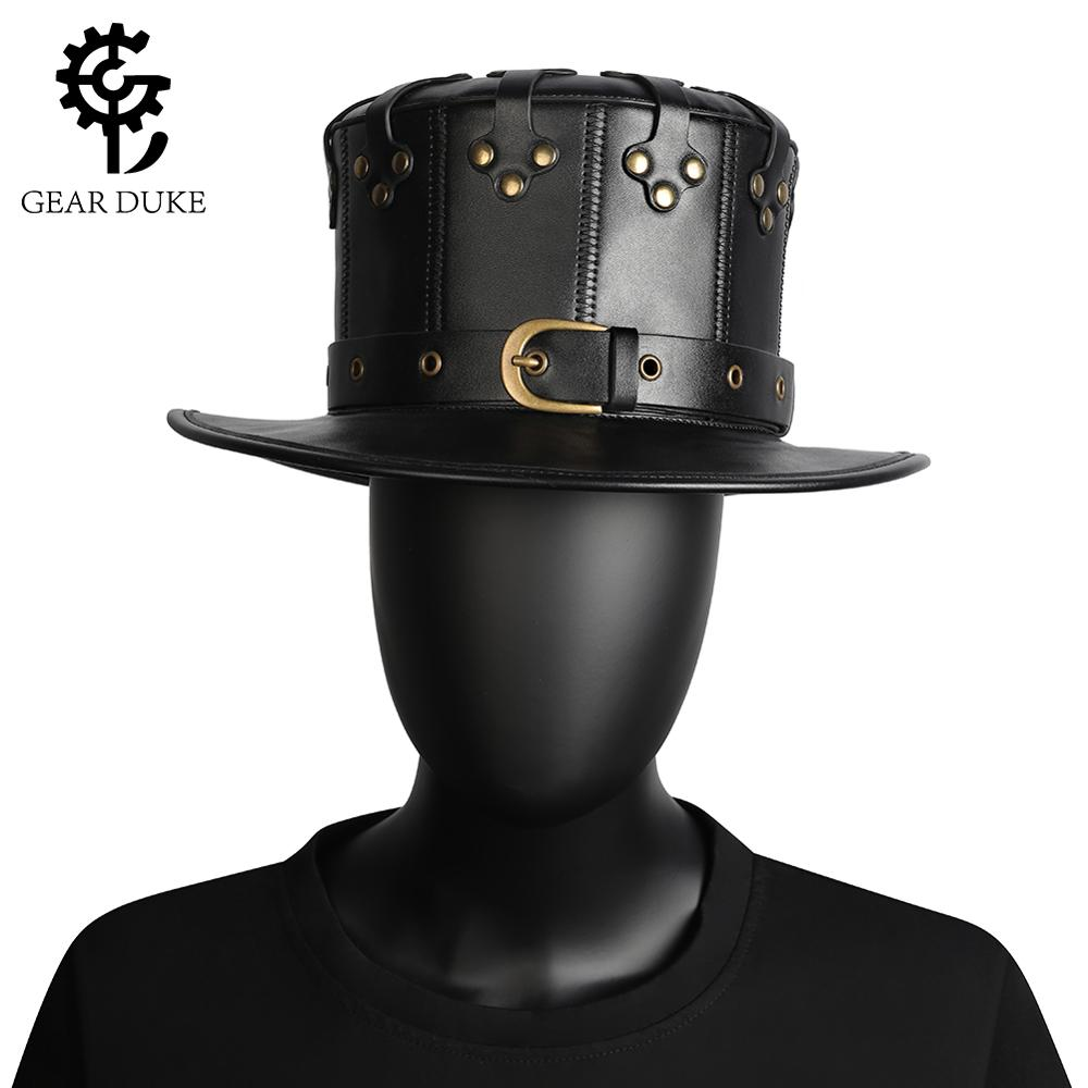 Adult Faux Leather Steampunk Victorian Top Hat Gear Gothic Halloween Costume Men
