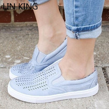 Купить с кэшбэком LIN KING Big Size 43 Women Flats Canvas Shoes Breathable Pierced Round Toe Casual Loafers Outdoor Slip On Lazy Summer Sneakers