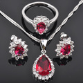 Pear Drop Design Red Cubic Zircon Women's Silver Jewelry Sets Pendant Necklace Earrings Rings JS0128 Free Shipping