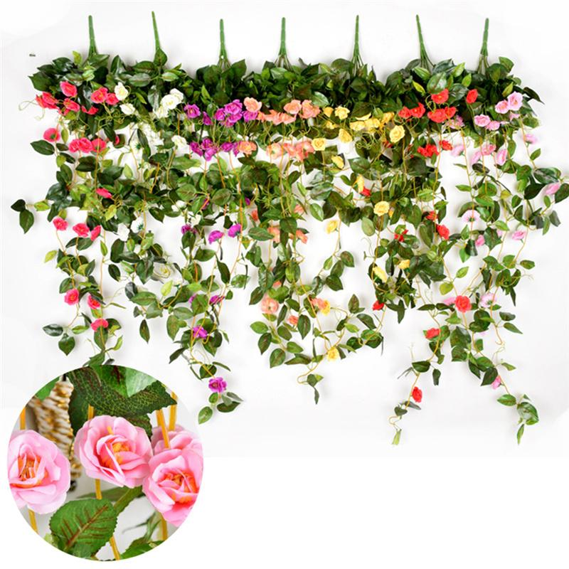 Home & Garden Artificial & Dried Flowers Shop For Cheap Multiflora Bracketplant Wall Hanging Ivy Artificial Rose Artificial Flower Rattan Hangings For Wedding Home Decoration 7 Colors Making Things Convenient For Customers