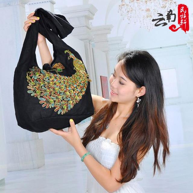 new women's national trend Embroidered Peacock shoulder bag messenger bag bohemia  vintage Embroidery handbag