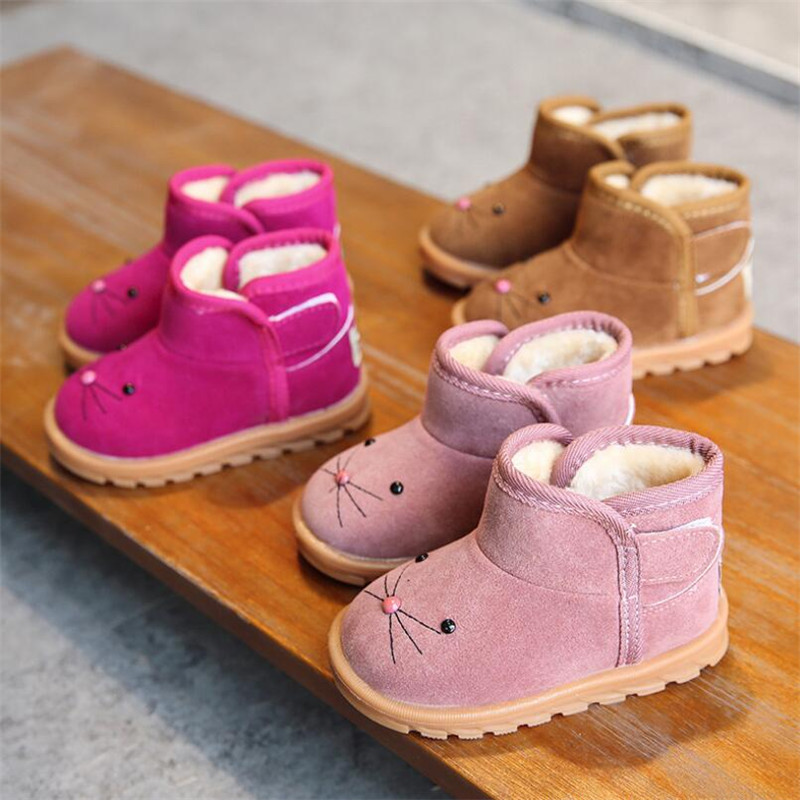 MHYONS 2019 New Kids Boots Toddle Girls Shoes Winter Snow Children Warm Ankle Pink Boots Cartoon Plush Baby Boys Casual Shoes