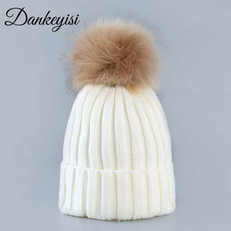 DANKEYISI Women Hat Female Solid Color   Skullies     Beanies   Lady Girl Hot Womens   Beanies   Hat Girl Boy Faux Fur Pom Pom Hat Men
