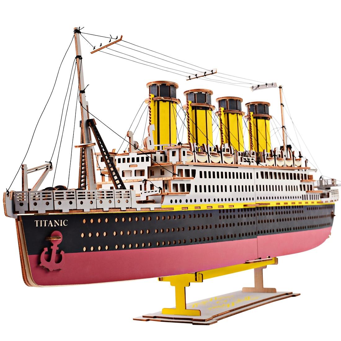 Puzzle de découpe Laser de haute précision 3D modèle de Puzzle en bois pour enfants Intelligence développement jouets Kit de construction modèle-Titanic