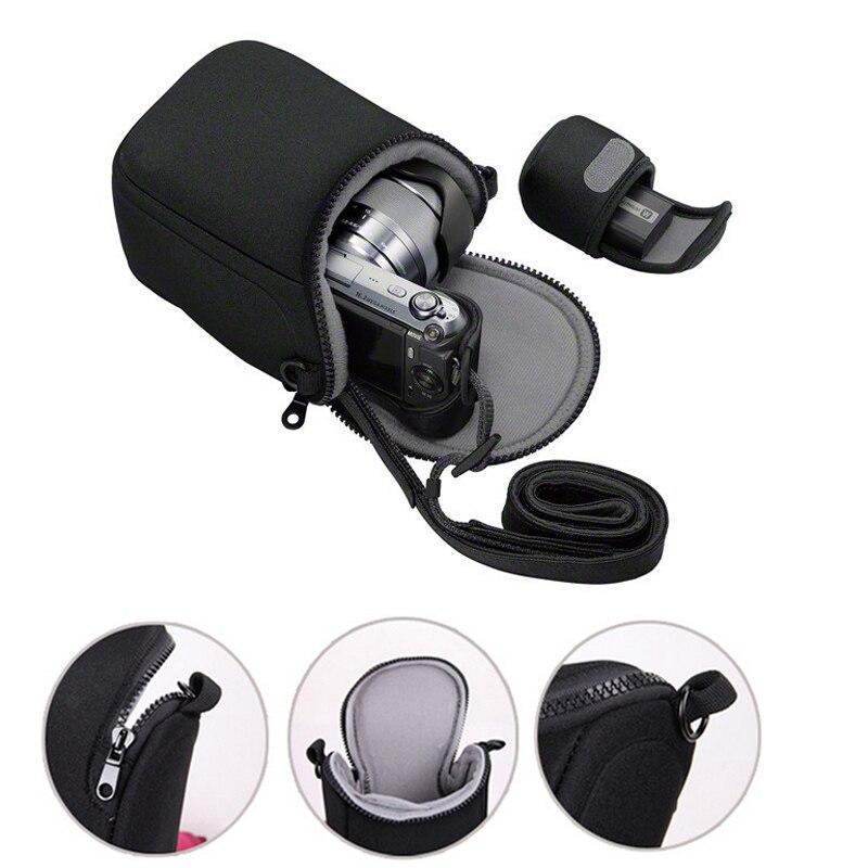 La cubierta de la Cámara de bolsa caso para Sony A5100 A5000 A6000 A6300 A6500 RX1R NEX-5T NEX-5N NEX-5R NEX-6 NEX-7 NEX-F3 3N con correa