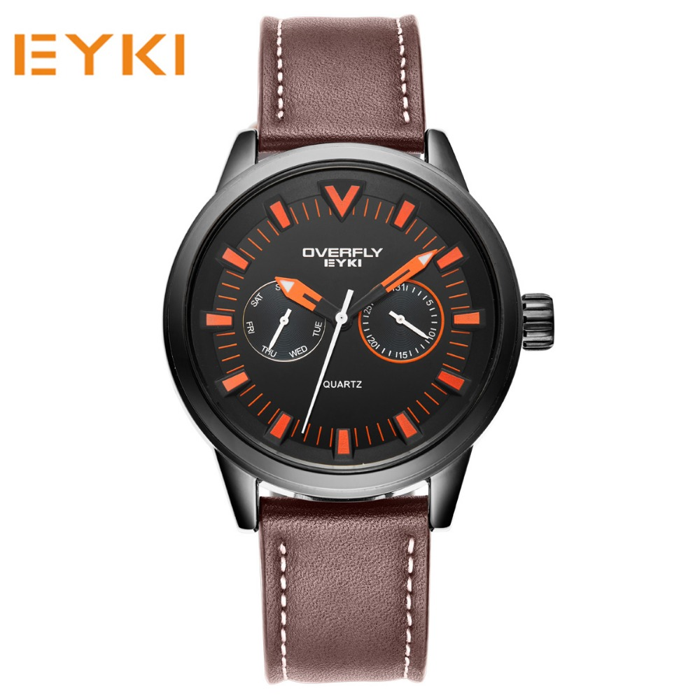 ФОТО EYKI Famous Brand  Mens Watches Quartz Casual Clock Leather Strap Male Wristwatch Sport Military Wrist watches