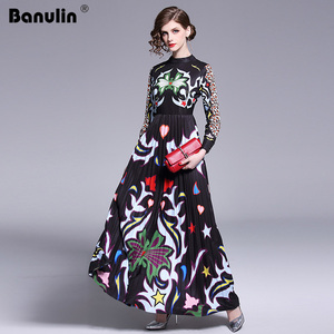 Image 2 - Banulin 2019 Pist Uzun Maxi Elbise Kadınlar Yüksek Kalite Büyüleyici Çiçek Uzun Kollu Patchwork Zarif Vintage Kat Uzunluk Elbise