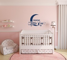 Kids Nursery Wall Decal Moon Star Pattern Quotes Dream Big Little One Wall Stickers For Baby Kids Bedroom Cute Home Decor SYY726