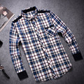 Autumn 2016 Top Men's Casual Plaid Shirts Long Sleeve Slim Fit Comfort Soft Brushed Cotton Shirt Leisure Styles Man Clothes