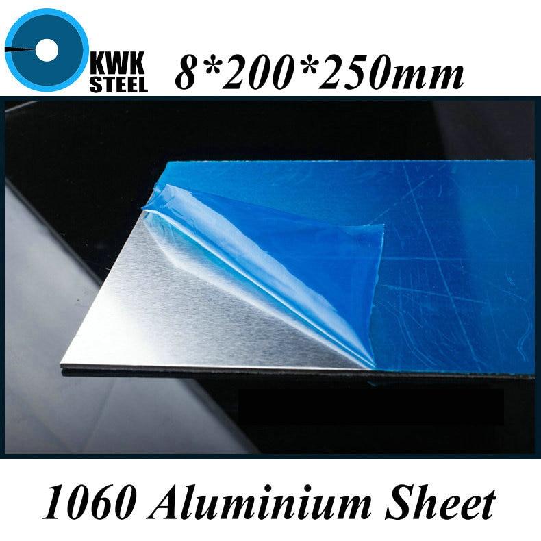 8*200*250mm Aluminum 1060 Sheet Pure Aluminium Plate DIY Material Free Shipping
