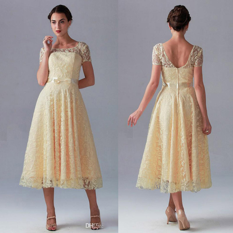 a2804d017b4 2015 Cheap Bridesmaid Dresses Under  100 Short Sleeves A Line Yellow Lace  Wedding Party Prom Dress Ribbon Sashes Festa Dresses-in Prom Dresses from  Weddings ...