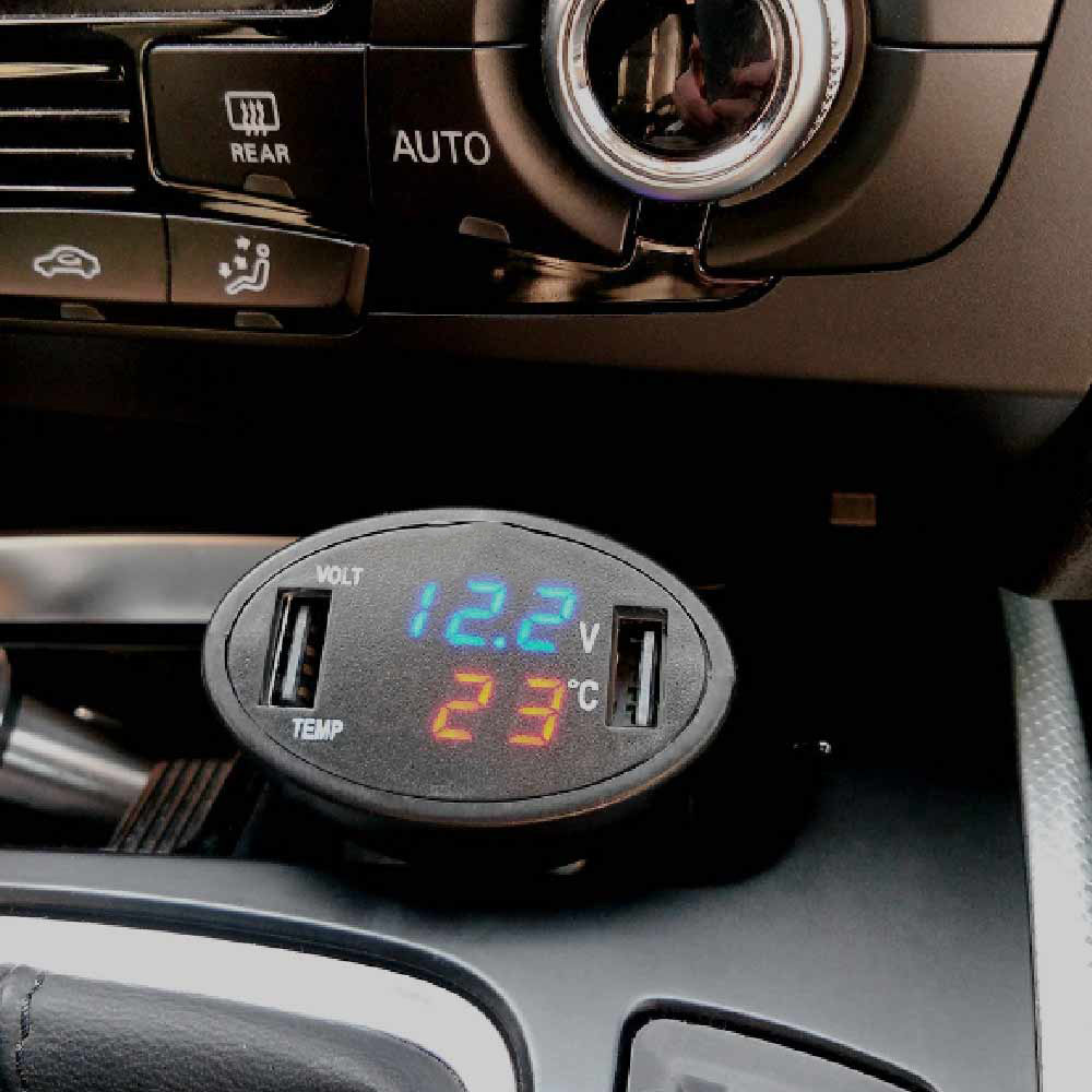 Multi-Socket Car Charger Usb Smart LED Auto Internal Temperature & Voltage Display Dual USB Port Universal USB Charger Hot Sell