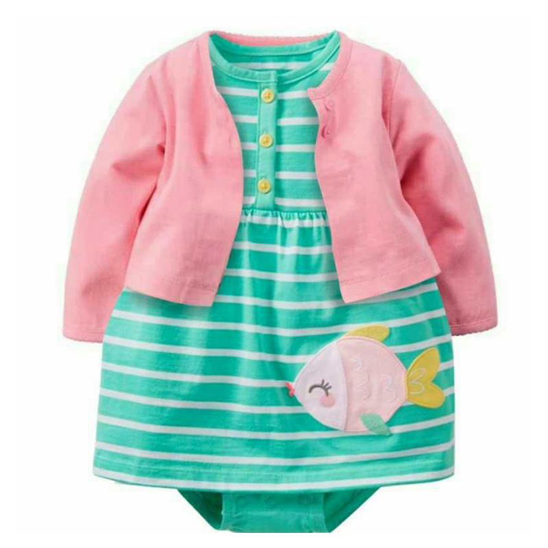 2017 NewBorn Baby bebes Girls 2pcs Sets Full Sleeve O-Neck dress with green fish Suits 100% Cotton Baby Clothing kids girl Sets baby rompers o neck 100