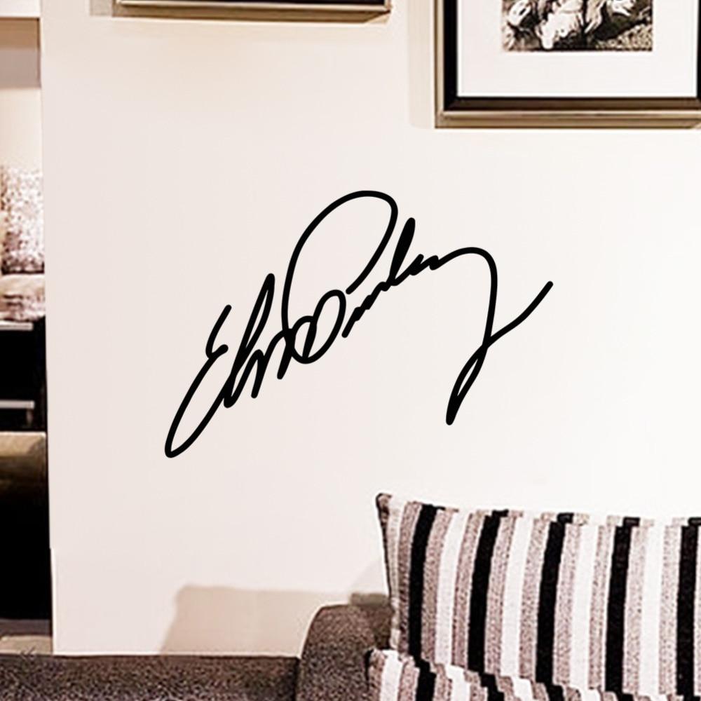 Elvis Presley Small Sign Signature Home Decor Vinyl Wall Sticker Wallpaper Window Decals Elvis17n In Stickers From Garden On