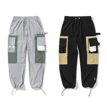 VfiveNnfour Vintage Color Block Patchwork Cargo Harem Pants 2019 Men Hip Hip Harajuku Ankle Drawstring Trousers Casual Joggers