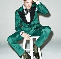 Latest Coat Pants Design Green Satin Prom Men Suit Slim Fit 2 Piece Blazer Custom Groom Tuxedo Fashion Party Suit