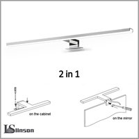2in1 Linson 60cm 8W 650lm IP44 CE ROHS Chromed Led Bathroom Mirror Light wall mounted led lamp led cabinet light