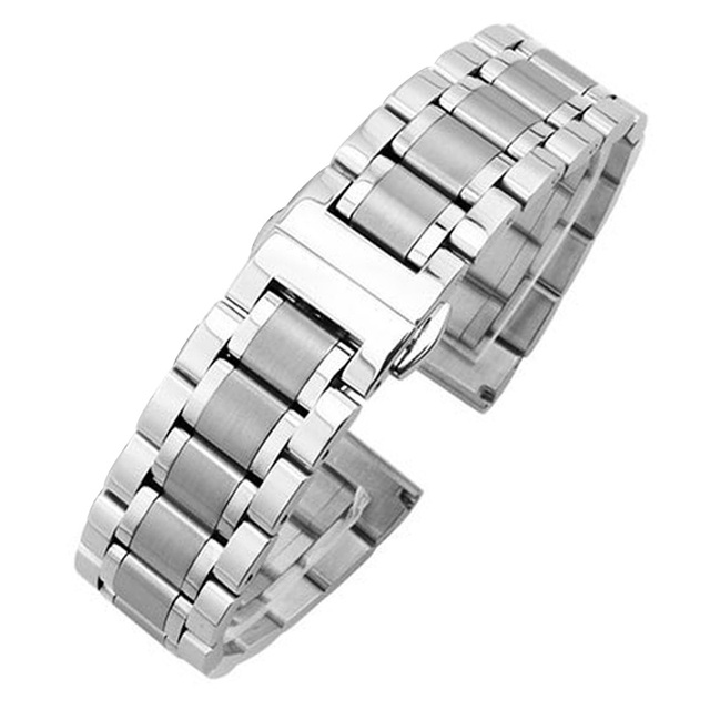 18mm - 24mm Metal Watchbands Bracelet Women Fashion Silver Solid Stainless Steel