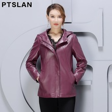 Ptslan Plus Size Women Genuine Leather Jacket Real Leather Coat Ladies Leather Clothing 2017 Autumn Winter