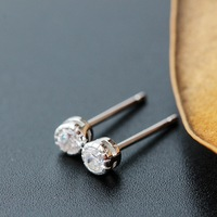 Ecoworld Ge Jewelry Wholesale Handmade Hypoallergenic Small Tremella Nail 925 Silver White Zircon Fashion Earrings