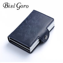 Bisi Goro 2019 Men And Women Business Credit Card Holder Metal RFID Double Aluminium Box Crazy Horse Leather Travel Card Wallet(China)