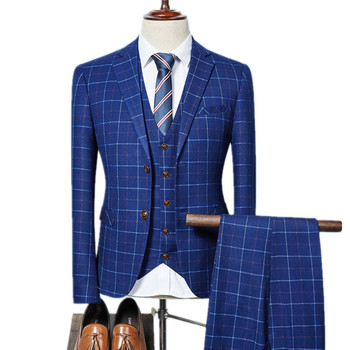 Business double buckle suit / Male plaid slim blazers jacket coat pants trousers vest waistcoat