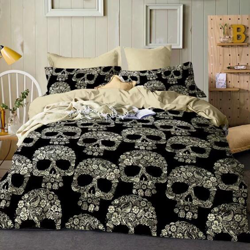 Wongsbedding Skulls Black Duvet Cover Set 3pcs Queen King Size Bedding SetsWongsbedding Skulls Black Duvet Cover Set 3pcs Queen King Size Bedding Sets