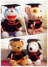 Hot High Quality Adorable Graduation Sit Hight 20cm Bear Dog Rabbit Doraemon Kids Plush Toy Soft Stuffed Animals Gift for Friend