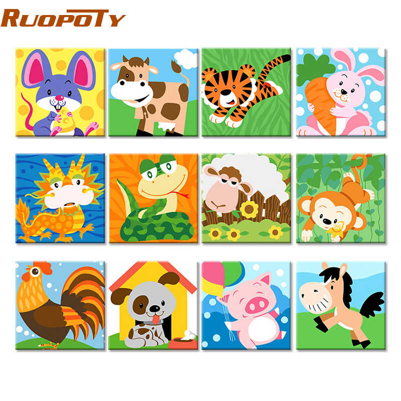 RUOPOTY Frame Animals DIY Painting By Numbers Kit Kids Image Paint By Numbers Hand Painted Unique Gift For Children Arts 20x20cm