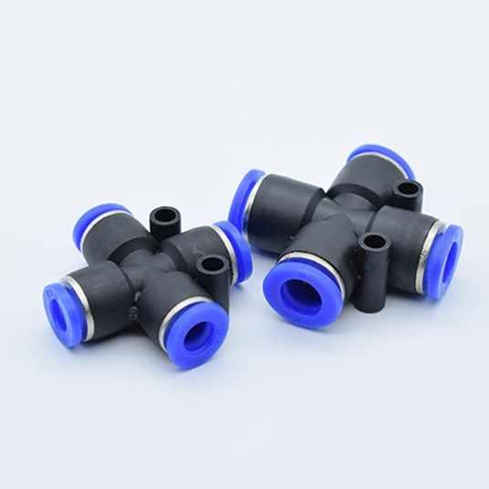 Nhanh chóng không ống khớp 4mm 6mm 8mm 10mm 12mm Chéo 4 cách Bằng Khí Nén đầu nối Nhựa cổng kết nối