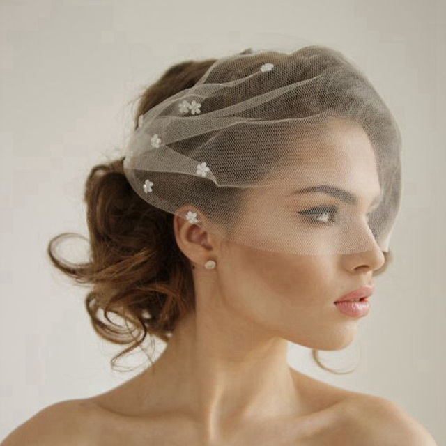 Silk Tulle Bandeau Birdcage Wedding Veil With Flowers Headband Short Bridal Veils White Ivory