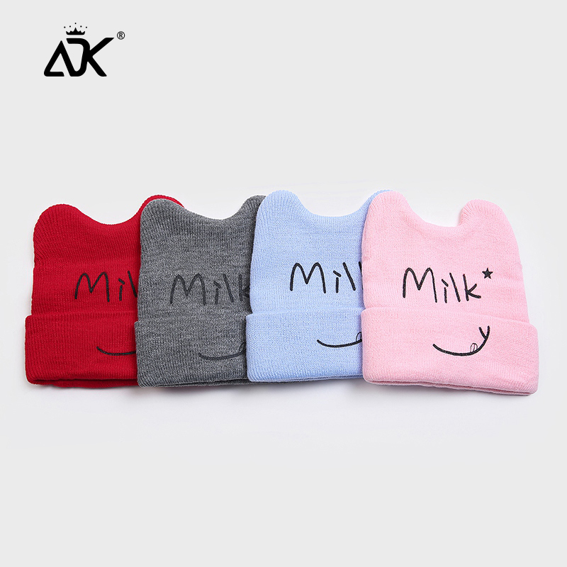 Kids Hats Cute Cat Milk Letters Cap Winter Warm Breathable Hat For Children Baby Knitted Sweet Kawaii Beanies For 2-6 Years Kids