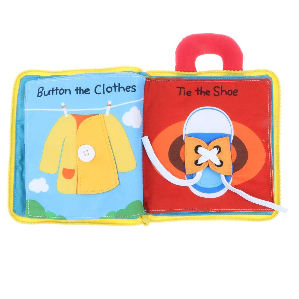 3D Livres En Tissu Bébé Montessori Apprendre à Robe Tôt De Base Vie Compétences Jouet Enseignement Horloges Couleur Formes Zip Snap Dentelle cravate Puzzle