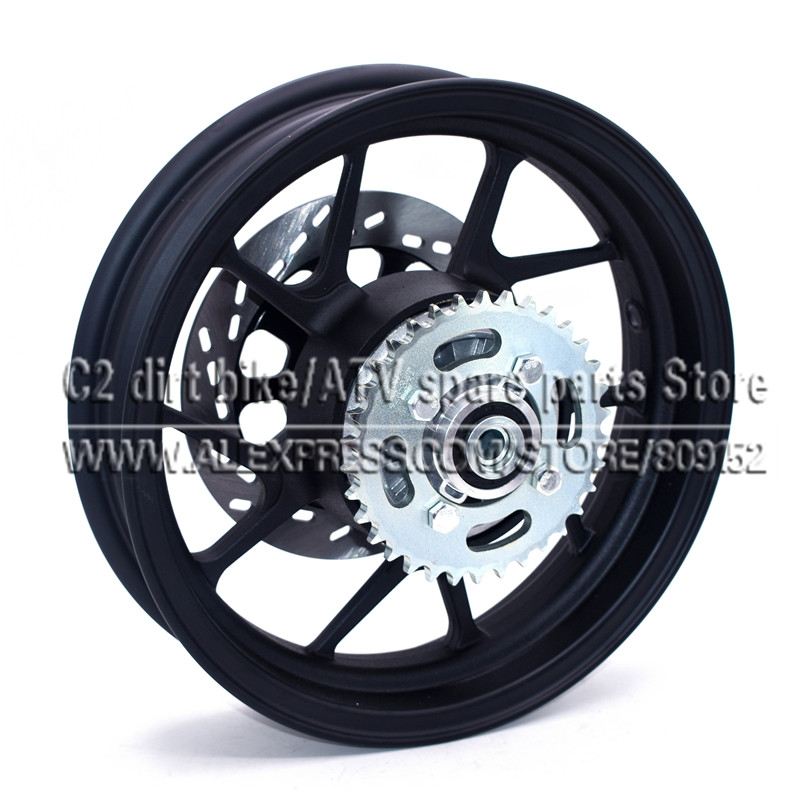 2.75-12 inch With #428-34 tooth Rear Sprocket and 200mm Diameter plate Disc Brake Vacuum Wheel Rim for Dirt Pit Bike Motorcycle 428h chain rear sprocket 37 tooth 58mm diameter for crf50 xr50 dirt pit bike motorcycle motocross 428 gear fit 10inch rear wheel
