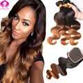 3 Bundles Ombre Peruvian Hair With Closure Rosa Hair Products Human Hair Weave With Closure Ombre Blonde Peruvian Virgin Hair