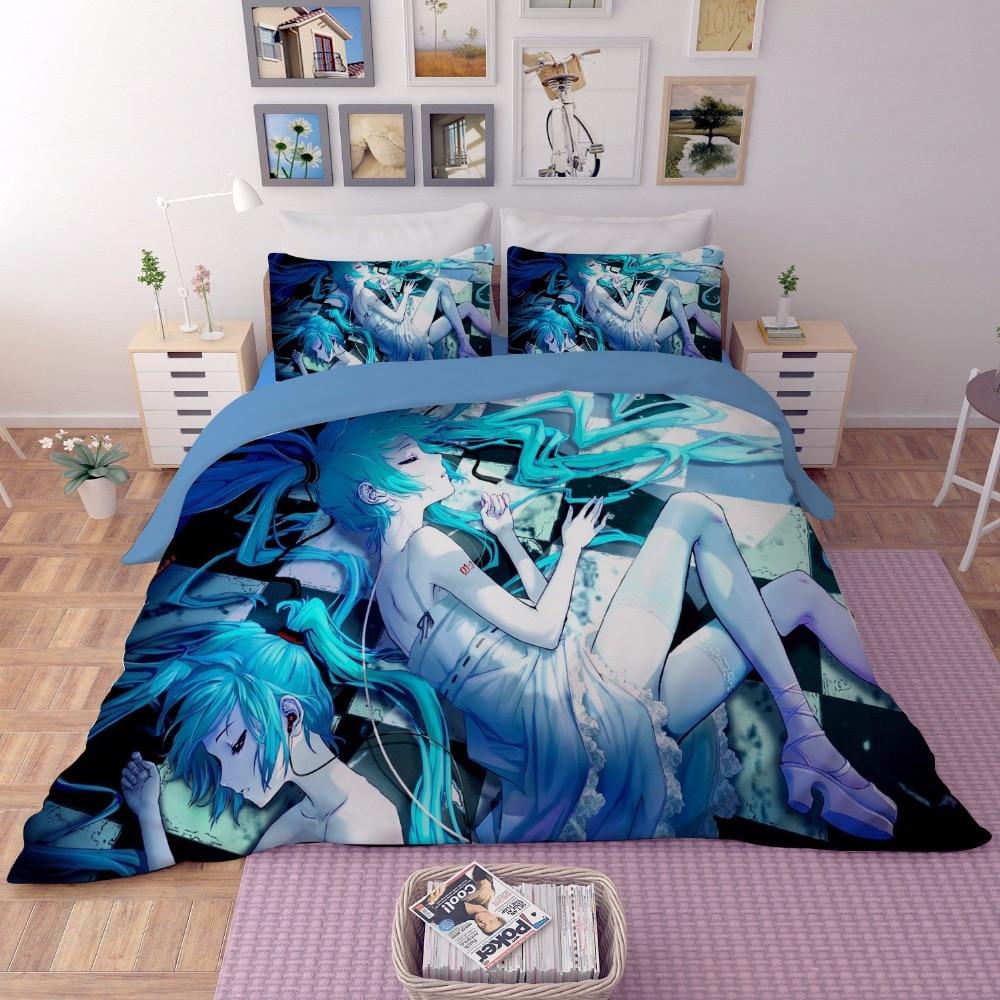 2018 new 3/4Pcs 3D Anime Hatsune Miku printed Bedding Set Pillowcase Bed flat Sheet linen Duvet Cover kid girl bedroom textiles