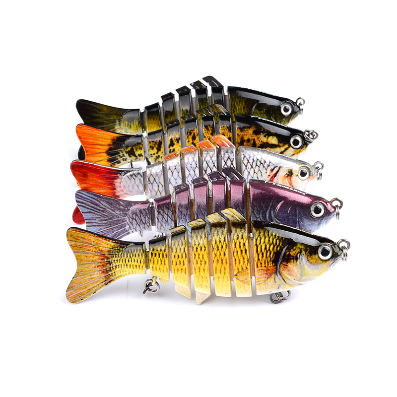 3D Eyes Lifelike Fishing Lure With Treble Hooks 7 Jointed Sections Swimbait Hard Bait Isca Artificial Lures Fishing Tackle 1pcs fishing lure bait minnow with treble hook isca artificial bass fishing tackle sea japan fishing lure 3d eyes