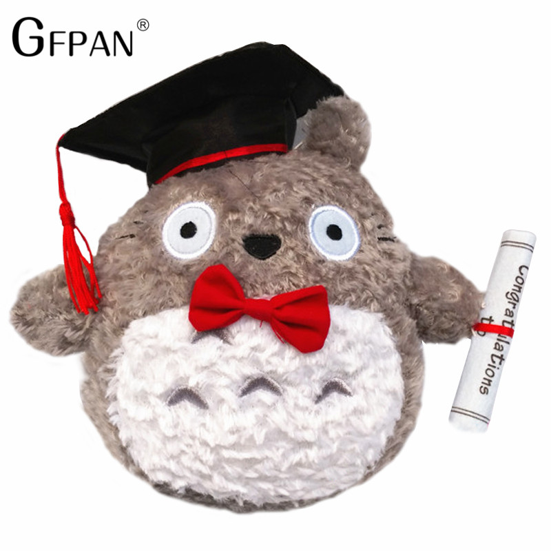 GFPAN 20cm Genius Doctor Dr. Totoro With Hat Soft Plush Doll Graduation Gift For Kids Doctorial Totoro With Bow High Quality