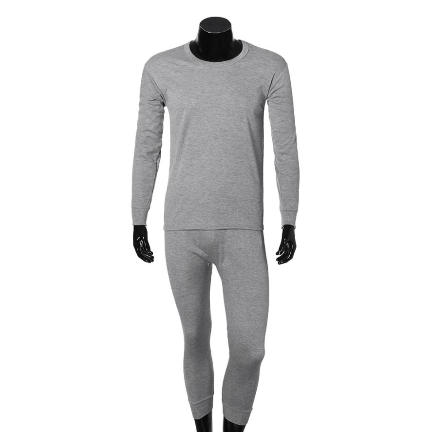 MUQGEW Mens Nightwear Long Sleeve Polyester Pyjama Suit With Trousers Warm Solid Pyjama Casual Home Clothes Pijama Fashion # AA