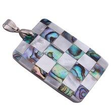 1 шт. прямоугольник цвет оболочка Paua синтетический ожерелье ювелирные изделия, ювелирные изделия в качестве подарка