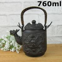 Hot Sale 760ml Chinese Large Teapot Dragon Handmade Tea Sets Yixing Kung Fu Pot Set Genuine Clay Ceramic Porcelain Kettle