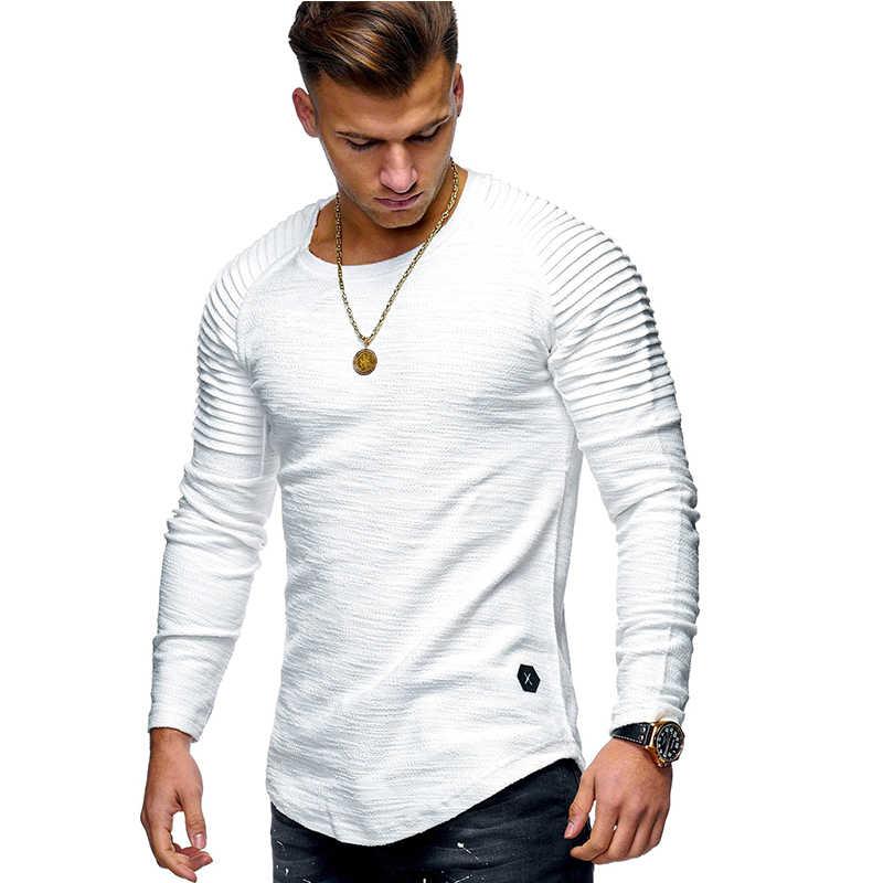 2019 חדש אופנה גברים של צוואר עגול Slim מוצק צבע ארוך שרוולים חולצה פסים פי קרוע שרוול סגנון T חולצה גברים חולצות Tees