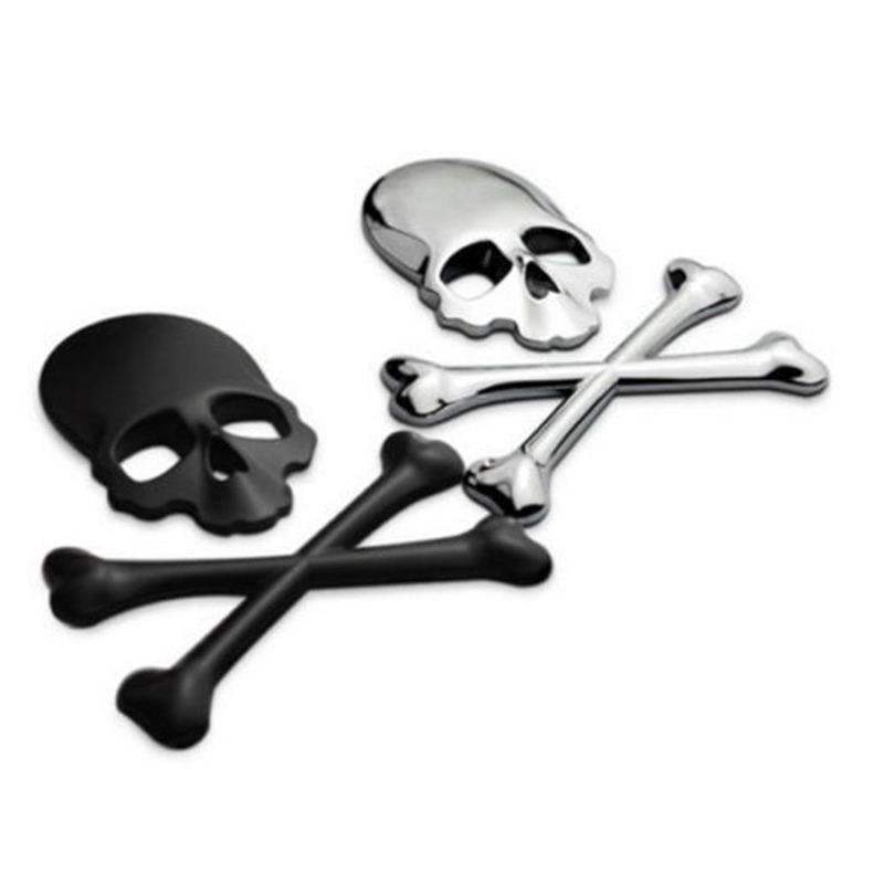 youe shone 3D Skull Metal Skeleton Crossbones Motorcle Car Sticker Label Skull Emblem Badge Car Styling Stickers Accessories Стикер