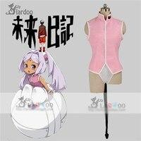 SıCAK Anime Mirai Nikki Murumuru Üniforma Cosplay Kostüm Pembe Gömlek Beyaz Külot Herhangi Boyutu Ücretsiz Kargo
