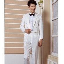 New Arrival royal style Tailcoat White Wedding Groom Suit Set ( Blazers+Pants+Tie ) Men's Latest Coat Pants Designs Tuxedo