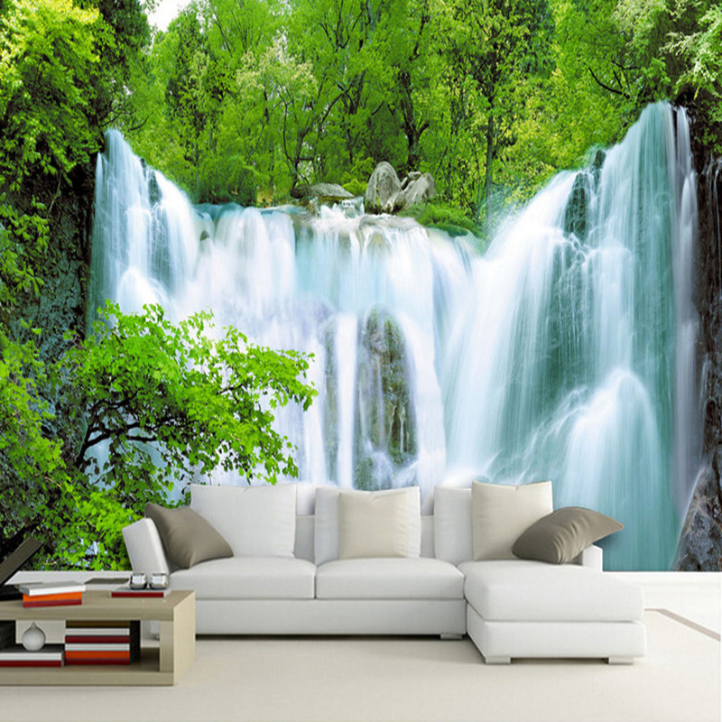 Custom Any Size 3D Mural Wallpaper Modern Simple Waterfalls Nature Landscape Photo Wall Painting Living Room Bedroom Home Decor