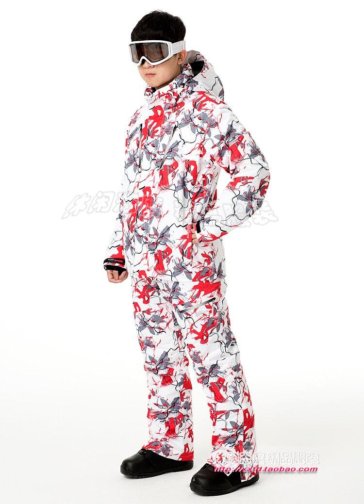 Imperméable à l'eau Sports de plein air Camping Ski veste Plus pantalon Overwarm costume hiver Impression hommes Ski costume livraison gratuite