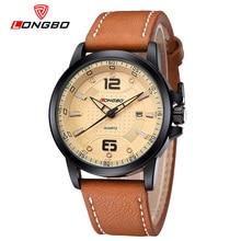 LONGBO Brand Men Genuine Leather Quartz Watch Analog 2016 Men s Military Waterproof Calendar Wristwatch Relogio