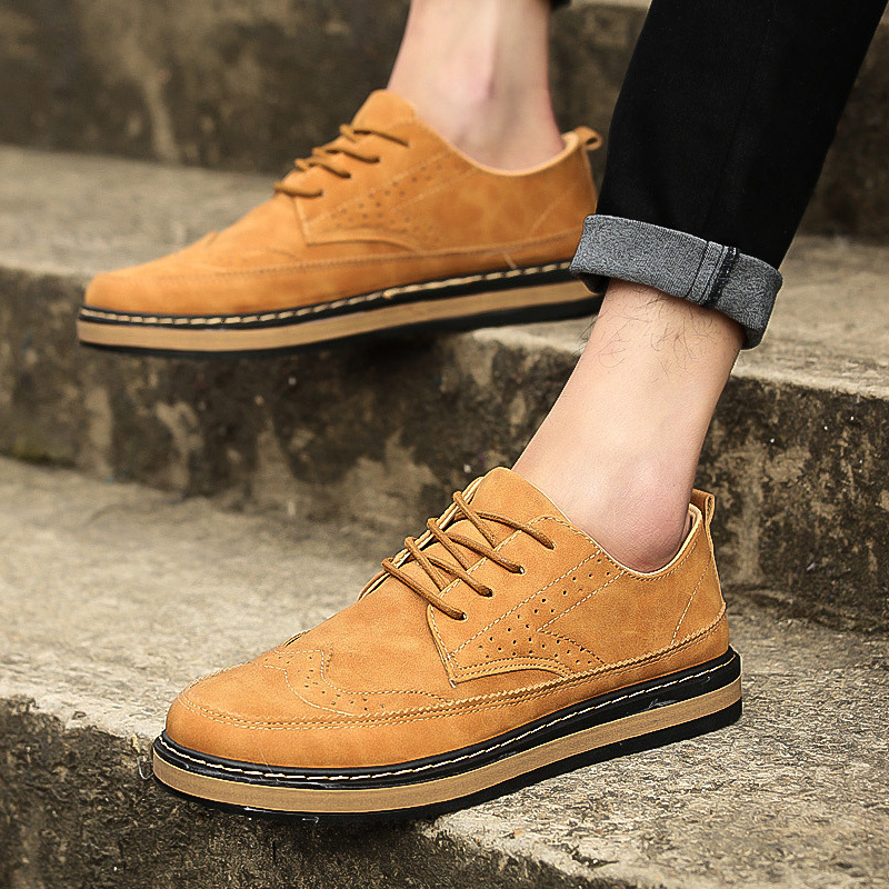 British Retro Bullock Carved Men's Shoes Spring And Summer Trend Casual Leather Shoes Men Casual Shoes Low Upper Board Shoes